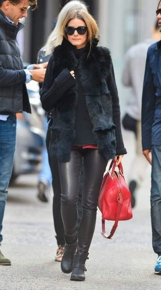 Olivia Palermo wearing Black Fur Vest, Black Knit Turtleneck, Black Leather Skinny Pants, Black Leather Ankle Boots