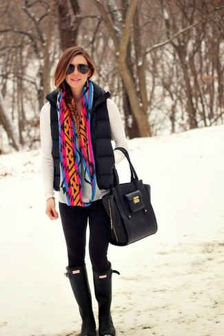 If you're a jeans-and-a-tee kind of gal, you'll like the simple combination of a black quilted vest and a multi colored scarf. Dress down your look with black rain boots. As you can guess, this is also a cool choice when spring sets it.