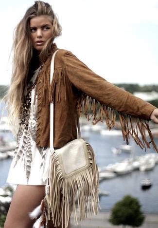 Veste en daim femme avec franges