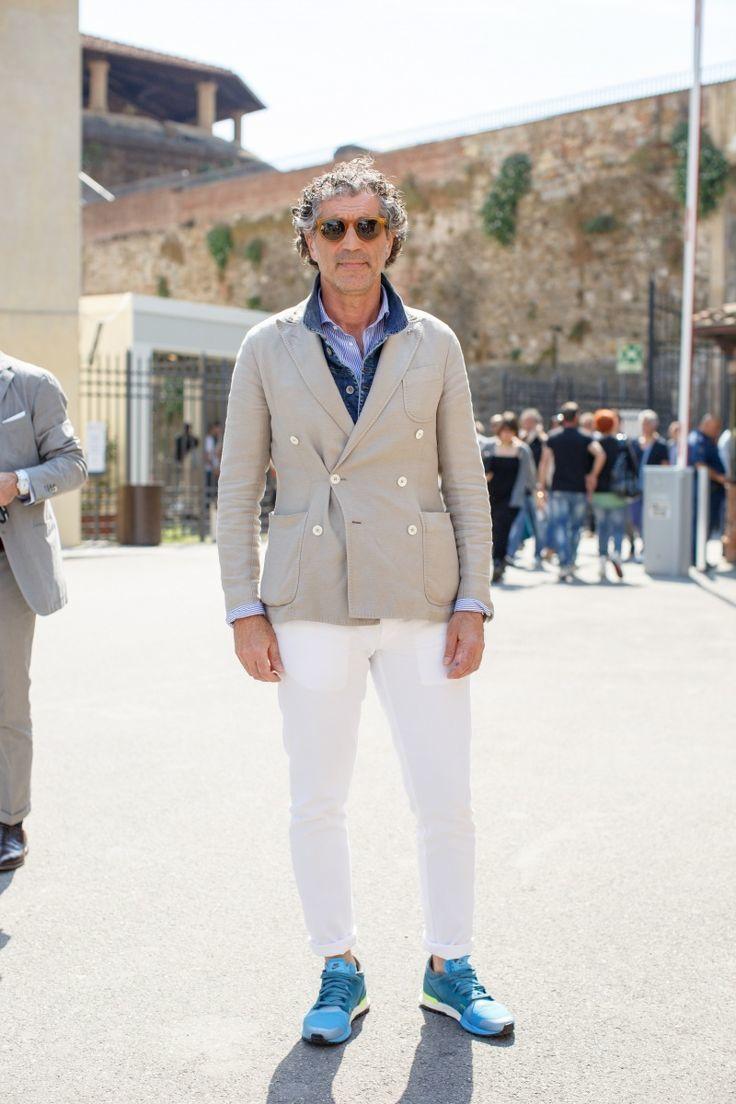Tenue avec pantalon blanc fashion designs - Comment porter une veste en jean homme ...