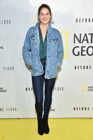 Veste en jean bleue chemisier a manches longues bleu canard jean skinny bleu marine large 22528