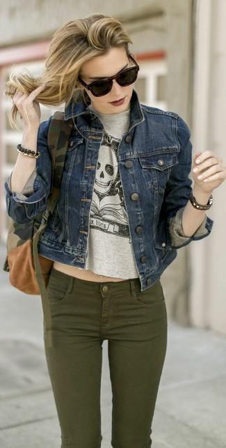 Blouson jean gris femme