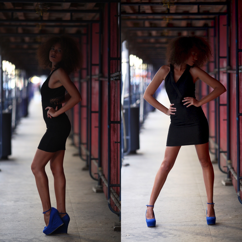 Vestido negro y zapatos azules