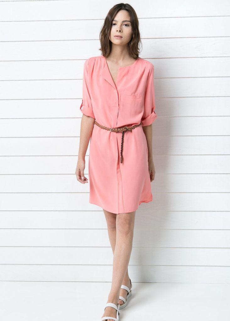 Look de moda: Vestido Camisa Rosada, Sandalias Planas de Cuero ...