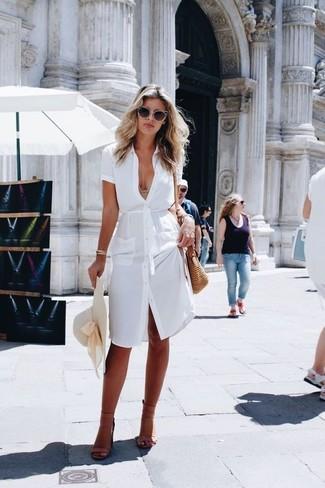 De ModaVestido Look BlancaSandalias Tacón Cuero Camisa mNv0w8n