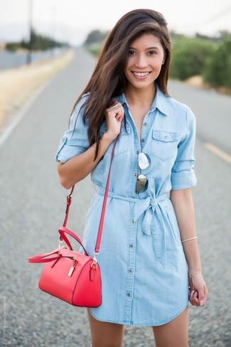 df46c6f3ab Moda para Mujeres › Moda para mujeres de 30 años Look de moda  Vestido camisa  vaquera celeste