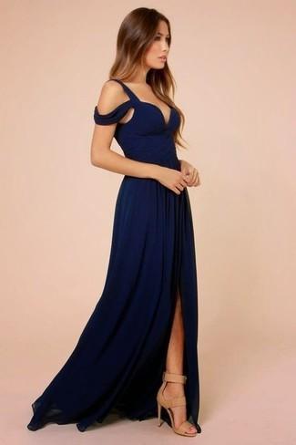 Vestido De Noche Azul Marino De Roland Mouret 1104