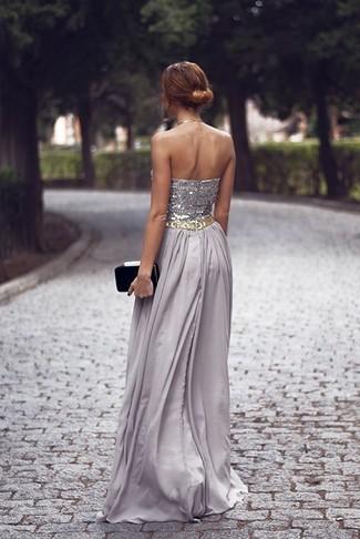 bec75fb22 ... Look de moda  Vestido de noche con adornos gris