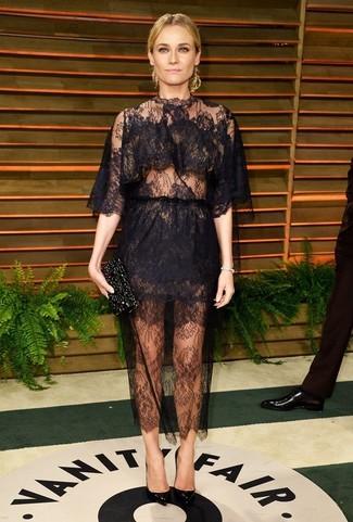 Vestido de noche de encaje negro zapatos de tacon de cuero negros cartera sobre con adornos negra large 1401