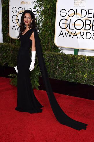 Vestido de noche negro cartera sobre de cuero blanca guantes largos blancos large 7571