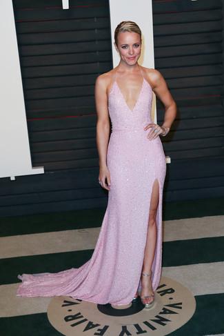 Vestido de noche rosado sandalias de tacon plateadas pulsera plateada large 22706