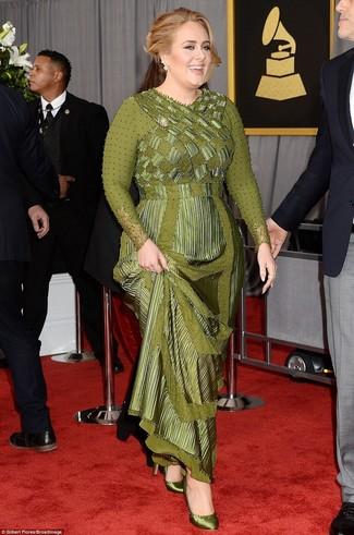 Vestido de noche verde oliva zapatos de tacon de saten verde oliva large 24363