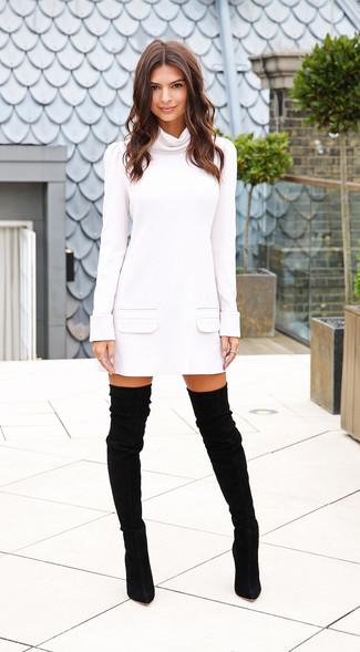 Vestido jersey blanco botas sobre la rodilla de ante negras large 15520