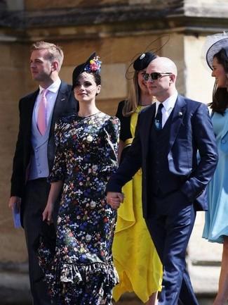 Cómo combinar: vestido largo con print de flores negro, sombrero con adornos negro