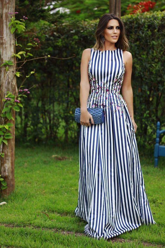 Vestido largo rayas azul y blanco