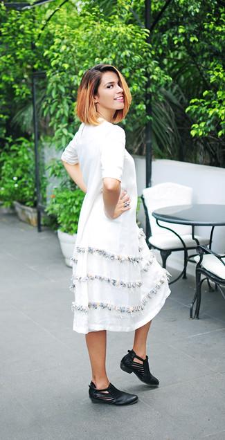 Vestido blanco lino midi