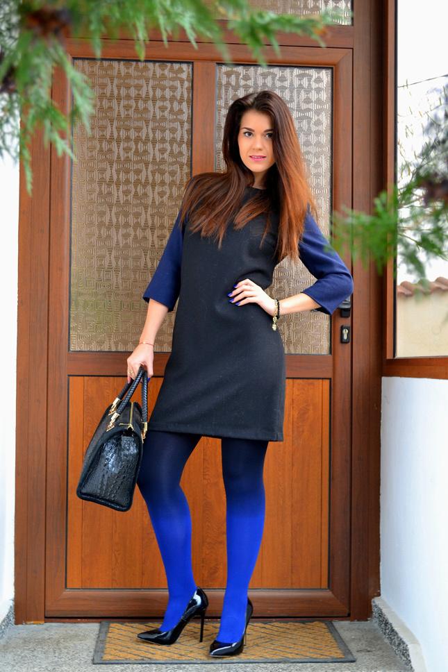 Look Negro Vestido Moda Tacón De En Zapatos Recto Azul Y w4TwxFU