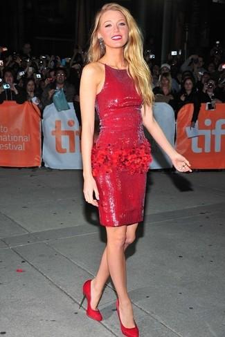 ante rojo de tacón zapatos tubo rojos lentejuelas de vestido combinar de Cómo AwnOpqXvO