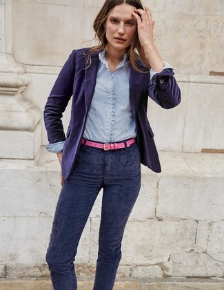 Hot Pink Belt Outfits For Women: A violet velvet blazer and a hot pink belt worn together are such a dreamy ensemble for fashionistas who prefer cool chic combinations.