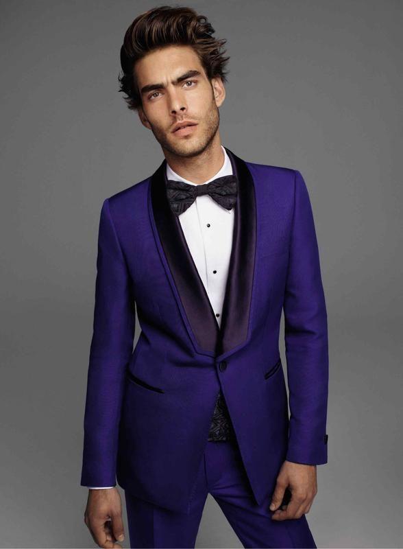 bc0c279dbf91 How to wear: violet blazer, white dress shirt, violet dress pants, dark