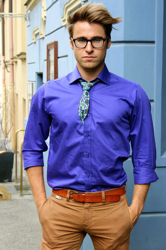 How to wear: violet long sleeve shirt, khaki chinos, mint floral tie, tobacco leather belt