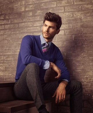 How to wear: violet v-neck sweater, white and navy gingham dress shirt, brown wool dress pants, purple horizontal striped tie