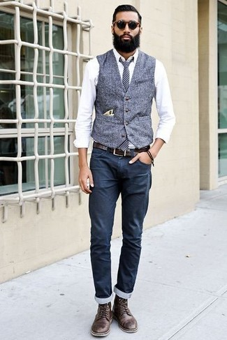 How to wear: grey wool waistcoat, white dress shirt, navy chinos, dark brown leather casual boots