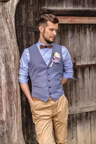 How to Wear a Light Blue Waistcoat: Go for sophisticated men's style in a light blue waistcoat and khaki chinos.