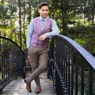 Navy and White Polka Dot Socks Outfits For Men: A purple waistcoat and navy and white polka dot socks will introduce serious style into your daily off-duty fashion mix. A pair of brown leather double monks effortlessly turns up the classy factor of your outfit.