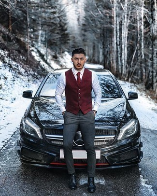 Black Leather Oxford Shoes Outfits: Wear a burgundy wool waistcoat with charcoal chinos for rugged elegance with a twist. Black leather oxford shoes will breathe a dose of refinement into an otherwise standard look.
