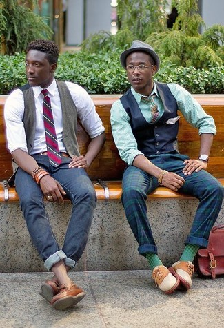 How to wear: navy waistcoat, green vertical striped dress shirt, navy and green plaid dress pants, beige suede oxford shoes