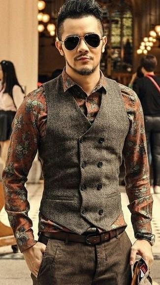 How to wear: dark brown wool waistcoat, orange floral dress shirt, dark brown corduroy dress pants, dark brown leather belt