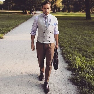 Khaki Dress Pants Outfits For Men: Combining a grey check waistcoat and khaki dress pants will prove your outfit coordination savvy. A pair of dark brown leather double monks brings just the right amount of casualness to this look.