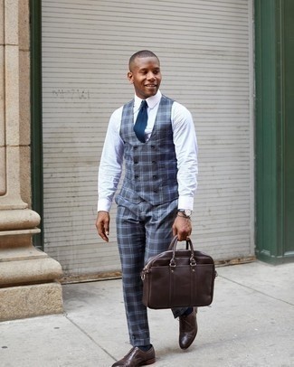 Grey Bracelet Outfits For Men: You'll be amazed at how super easy it is for any gentleman to put together this casual outfit. Just a charcoal plaid waistcoat and a grey bracelet. Why not take a more elegant approach with footwear and throw in dark brown leather oxford shoes?