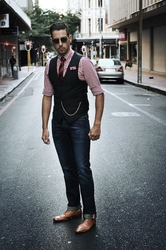How to wear: black waistcoat, red gingham dress shirt, navy jeans, brown leather oxford shoes