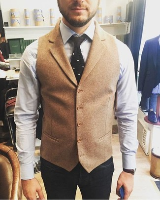 Tan Wool Waistcoat Outfits: You'll be amazed at how extremely easy it is to get dressed like this. Just a tan wool waistcoat combined with navy jeans.