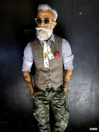 Waistcoat long sleeve shirt cargo pants bow tie belt sunglasses large 12630