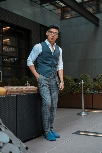 How to Wear Light Blue Suede Loafers For Men: Pairing a navy waistcoat with grey check chinos is a savvy pick for a sharp and polished outfit. Avoid looking too casual by rounding off with a pair of light blue suede loafers.