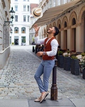 Beige Straw Hat Outfits For Men: A tobacco waistcoat and a beige straw hat are a great combination worth having in your daily collection. Up the formality of this outfit a bit by sporting a pair of beige suede loafers.