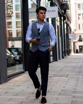 Men's Outfits 2021: For a look that's nothing less than wow-worthy, opt for a charcoal waistcoat and black chinos. Black suede loafers integrate seamlessly within a multitude of getups.