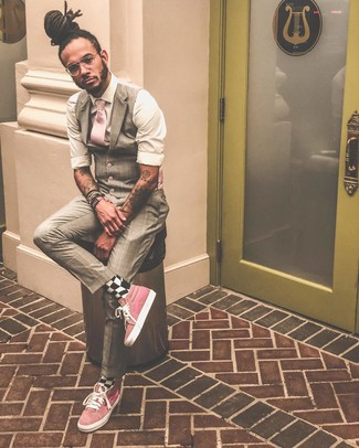 How to wear: beige plaid waistcoat, white long sleeve shirt, pink high top sneakers, pink tie