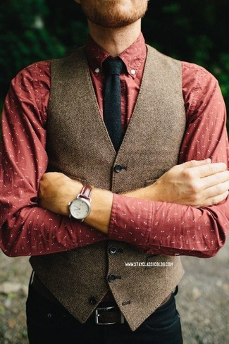 How to wear: brown herringbone wool waistcoat, red print long sleeve shirt, black jeans, black wool tie