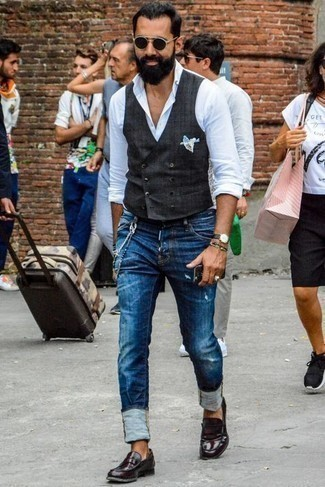Multi colored Beaded Bracelet Outfits For Men: This combination of a charcoal waistcoat and a multi colored beaded bracelet is indisputable proof that a safe casual ensemble doesn't have to be boring. For a truly modern on and off-duty mix, add burgundy leather loafers to the mix.