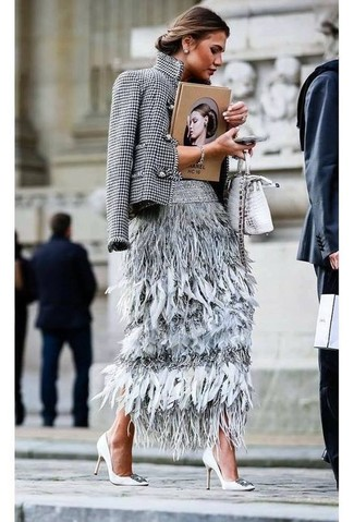 Houndstooth Blazer Outfits For Women: The perfect choice for a kick-ass casual outfit? A houndstooth blazer with a grey feather midi skirt. A pair of white embellished leather pumps immediately dials up the glamour factor of any outfit.
