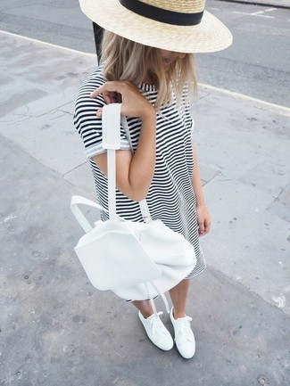 How to wear: white and black horizontal striped casual dress, white low top sneakers, white leather backpack, beige straw hat