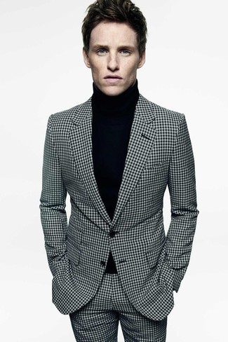 White and Black Check Suit Outfits: Wear a white and black check suit with a black turtleneck to ooze manly elegance and polish.