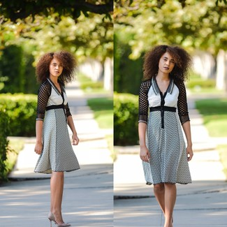 Something as simple as opting for white and black chevron fit and flare dress can potentially set you apart from the crowd. For the maximum chicness opt for a pair of grey satin pumps.