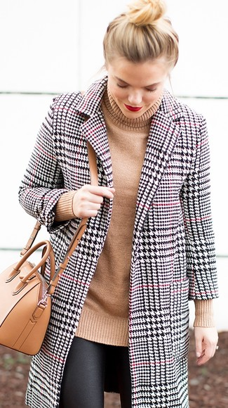 How to wear: white and black houndstooth coat, tan knit turtleneck, black leather leggings, tan leather crossbody bag