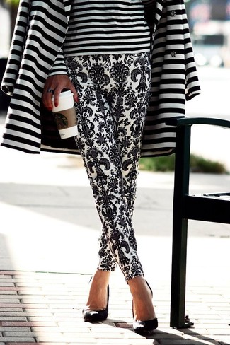 Women's White and Black Horizontal Striped Coat, White and Black Horizontal Striped Long Sleeve T-shirt, White and Black Paisley Tapered Pants, Black Suede Pumps