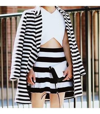 Women's White and Black Horizontal Striped Coat, White Cropped Top, Black and White Horizontal Striped Skater Skirt, Black and White Leather Crossbody Bag